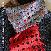 """Аксессуары ручной работы. Ярмарка Мастеров - ручная работа шарф валяный """"Красное и черное"""". Handmade."""