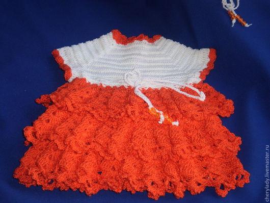 Одежда для девочек, ручной работы. Ярмарка Мастеров - ручная работа. Купить платье для маленькой модницы. Handmade. Оранжевый, хлопок 100%