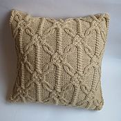Для дома и интерьера handmade. Livemaster - original item Knitted decorative pillow beige. Handmade.