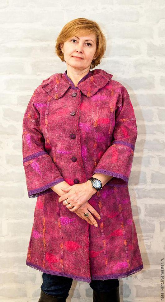 """Верхняя одежда ручной работы. Ярмарка Мастеров - ручная работа. Купить Пальто """"РЕТРО"""". Handmade. Фуксия, абстрактный, пальто из шерсти"""