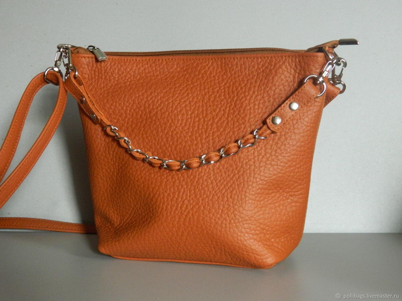 Leather bag. Crossbody bag. Hobo small. Red, Crossbody bag, Krasnodar,  Фото №1