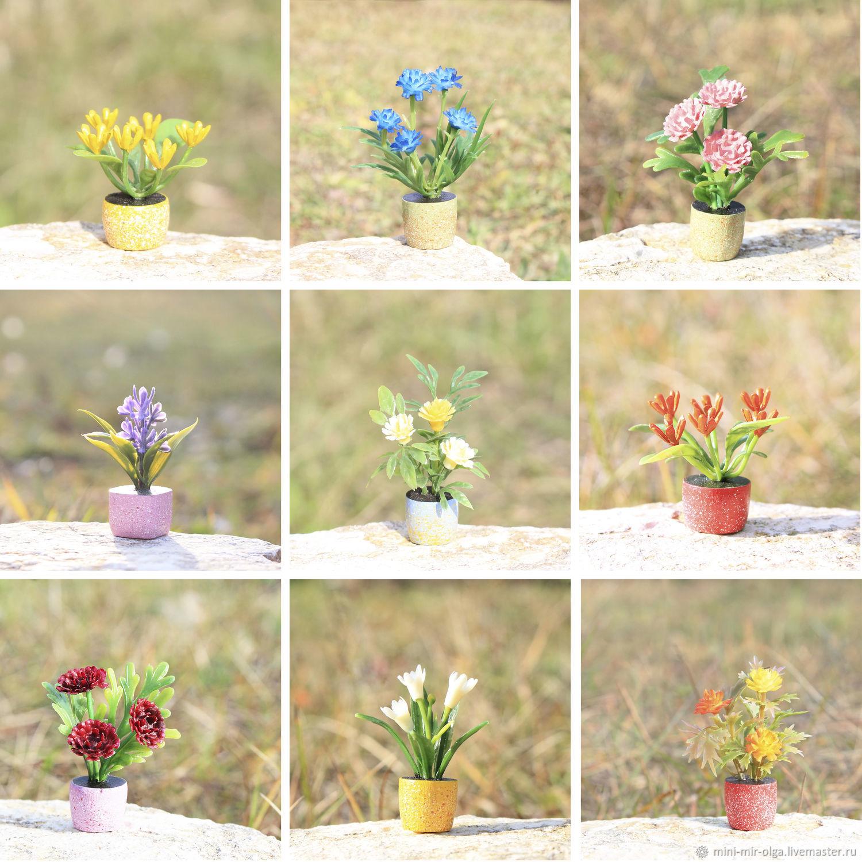 Цветы для кукол в кукольный домик, миниатюра 1:12, Миниатюрные игрушки, Ступино, Фото №1