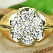 Украшения handmade. Livemaster - original item 1.82 Carat Mens Diamond Cluster Ring, Heavy Solid Gold Mens Ring. Handmade.