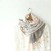 Аксессуары handmade. Livemaster - original item tippet. scarf. Giorgio Armani silk, cotton, roses, stripes. Handmade.