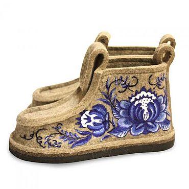 Обувь ручной работы. Ярмарка Мастеров - ручная работа Валенки валеши Цветы гжель рисунок. Handmade.
