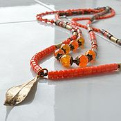 Necklace handmade. Livemaster - original item Long double row choker with pendant Bright autumn. Handmade.