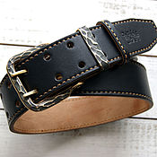 Аксессуары handmade. Livemaster - original item Bridle Genuine Leather Belt black with forged buckle. Handmade.
