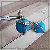 Украшения handmade. Livemaster - original item Silver earrings Kosmos turquoise, 925 sterling silver. Handmade.