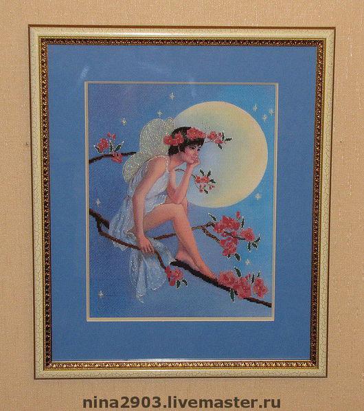 """Фантазийные сюжеты ручной работы. Ярмарка Мастеров - ручная работа. Купить Вышитая картина """"Лунная Фея"""". Handmade. Луна, фентази"""