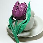 Цветы ручной работы. Ярмарка Мастеров - ручная работа Цветы из кожи. Брошь Тюльпан. Handmade.