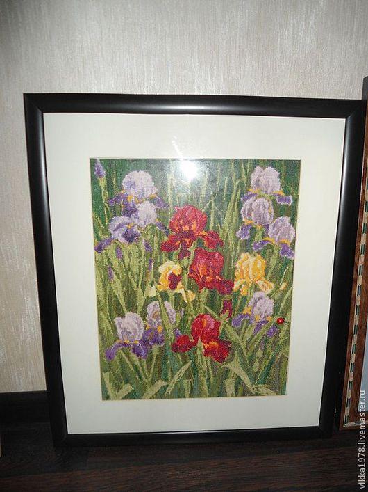 """Картины цветов ручной работы. Ярмарка Мастеров - ручная работа. Купить """"Садовые ирисы"""". Handmade. Картина в подарок, картина для интерьера"""