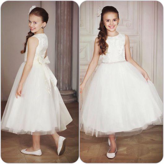 """Одежда для девочек, ручной работы. Ярмарка Мастеров - ручная работа. Купить Платье нарядное для девочки, пышное, длинное """"Фея"""" (айвори - 46). Handmade."""