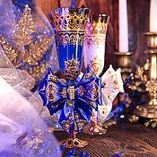 """Свадебный салон ручной работы. Ярмарка Мастеров - ручная работа Бокалы свадебные - """"синее и белое"""". Handmade."""