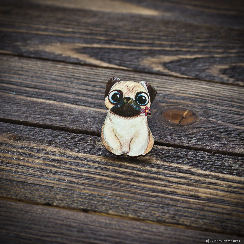 Wooden icon Cute Pug, Badge, Volzhsky,  Фото №1