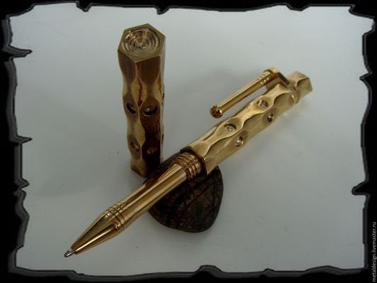 Подарки для мужчин, ручной работы. Ярмарка Мастеров - ручная работа. Купить Шариковая ручка - Латунное стило. Handmade. Золотой