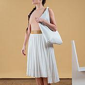 Сумка-шоппер ручной работы. Ярмарка Мастеров - ручная работа Белый шоппер из натуральной кожи. Handmade.