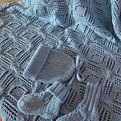 """Работы для детей, ручной работы. Ярмарка Мастеров - ручная работа Плед """"У вас будет мальчик""""+шапочка+носочки комплект на выписку. Handmade."""