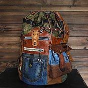 Сумки и аксессуары handmade. Livemaster - original item Men`s backpack of genuine leather and jeans. Handmade.