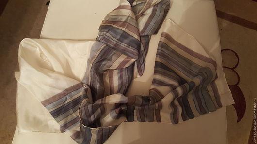 Винтажная одежда и аксессуары. Ярмарка Мастеров - ручная работа. Купить Винтажный шелковый шарф. Handmade. Серый, коллекционный, шелковый шарф