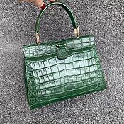 Сумки и аксессуары handmade. Livemaster - original item Evening bag made of crocodile skin, in dark green color.. Handmade.