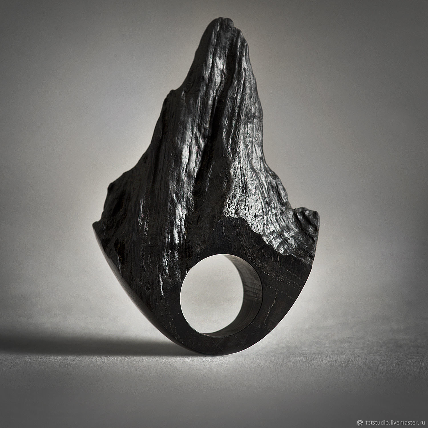 SILENZIO.  Large ring made of stained oak, Rings, Saratov,  Фото №1