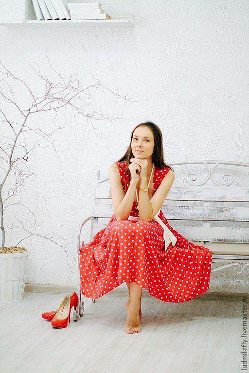 Платье красное в горошек. Пошив на заказ у Людмилы Маниной.
