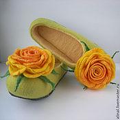 """Обувь ручной работы. Ярмарка Мастеров - ручная работа Валяные тапочки """"Рыжая роза"""" (женские). Handmade."""