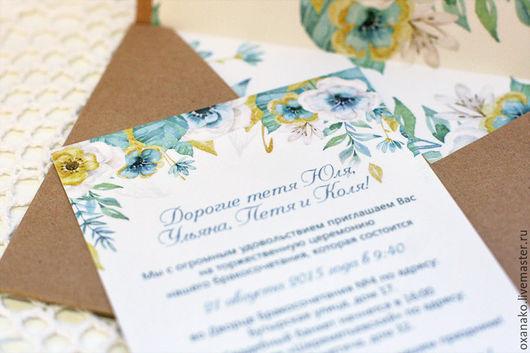 Приглашения на свадьбу и крафтовый конверт с вклейкой