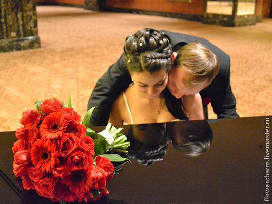 Свадебные цветы ручной работы. Ярмарка Мастеров - ручная работа. Купить Красный букет невесты. Handmade. Ярко-красный, бордовый