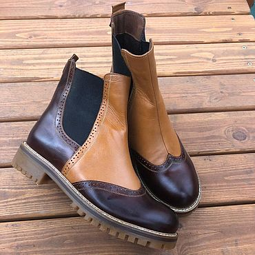 Обувь ручной работы. Ярмарка Мастеров - ручная работа Челси «темно-коричневый/светло-коричневый». Handmade.
