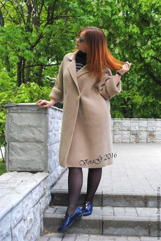 Кофты и свитера ручной работы. Ярмарка Мастеров - ручная работа. Купить пальто оверсайз. Handmade. Бежевый, пальто на заказ