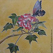 """Картины и панно ручной работы. Ярмарка Мастеров - ручная работа Картина-батик """"Бабочка на цветке"""". Handmade."""