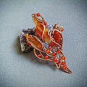 Украшения handmade. Livemaster - original item Carnelian fire flower Brooch wire wrap. Handmade.