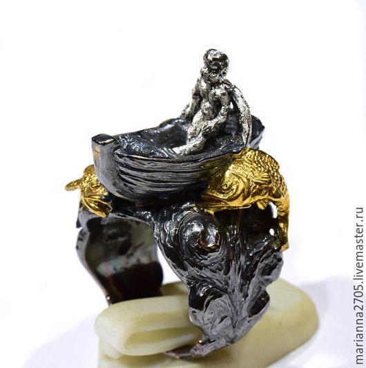 """Кольца ручной работы. Ярмарка Мастеров - ручная работа. Купить """"Двенадцатый день"""" философское кольцо с ангелом в лодке посреди моря. Handmade."""