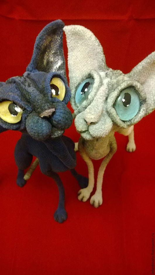 Игрушки животные, ручной работы. Ярмарка Мастеров - ручная работа. Купить Сфинкс - лысый кот темно-серого окраса. Handmade.