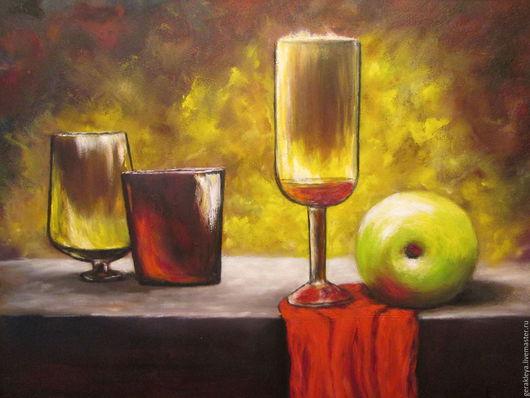 Натюрморт ручной работы. Ярмарка Мастеров - ручная работа. Купить Натюрморт с яблоком. Handmade. Бордовый, картина для интерьера, живопись маслом
