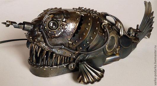 """Освещение ручной работы. Ярмарка Мастеров - ручная работа. Купить Подводная лодка """"Морской окунь"""". Handmade. Серебряный, субмарина, латунь"""