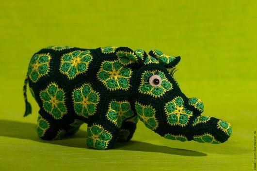Игрушки животные, ручной работы. Ярмарка Мастеров - ручная работа. Купить Носорог. Handmade. Зеленый, крючок, крючок для вязания