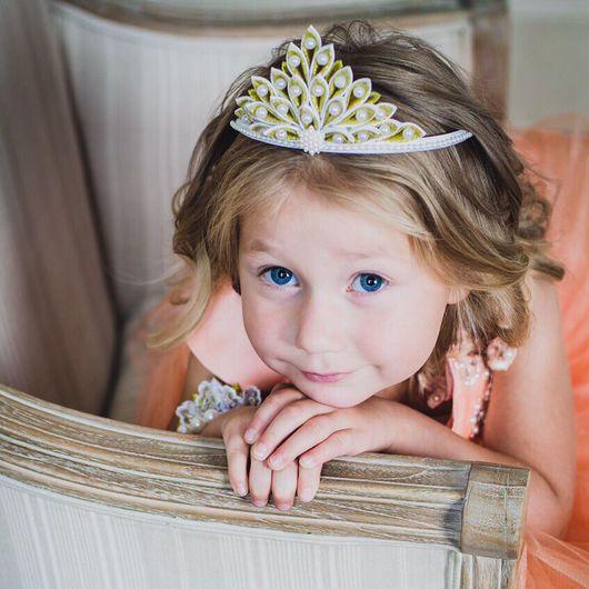 Детская бижутерия ручной работы. Ярмарка Мастеров - ручная работа. Купить Диадема золотая для маленькой принцессы. Корона для фотосессии. Handmade.