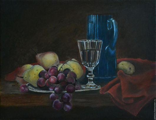 Натюрморт ручной работы. Ярмарка Мастеров - ручная работа. Купить Натюрморт с синим кувшином. Handmade. Тёмно-синий, кувшин, виноград