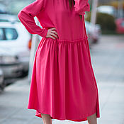 Одежда handmade. Livemaster - original item Long dress with collar, bright color - DR0133GE. Handmade.
