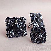 Украшения handmade. Livemaster - original item Cufflinks NOIR obsidian, hawk`s eye, hematite, bead. Handmade.