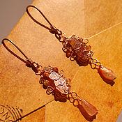 Украшения handmade. Livemaster - original item Shines solar flux. Gold earrings with kyanite and sun stone. Handmade.
