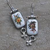 Украшения handmade. Livemaster - original item Aces card earrings, enamel, silver and goldfield. Handmade.