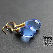 """Earrings handmade. Livemaster - original item Серьги чешское стекло """"Капли"""" проволока разные цвета. Handmade."""