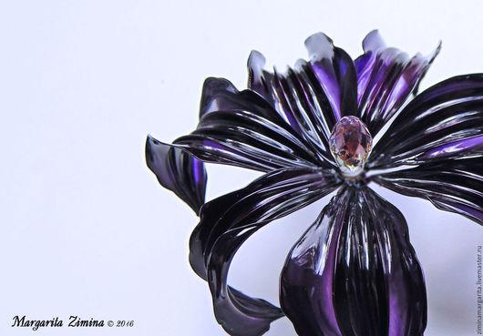 Броши ручной работы. Ярмарка Мастеров - ручная работа. Купить Клематис (Clematis). Ювелирное украшение. Крупный прозрачный цветок. Handmade.