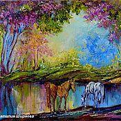 """Картины и панно ручной работы. Ярмарка Мастеров - ручная работа """"У Водопоя"""" - картина маслом с лошадьми. Handmade."""