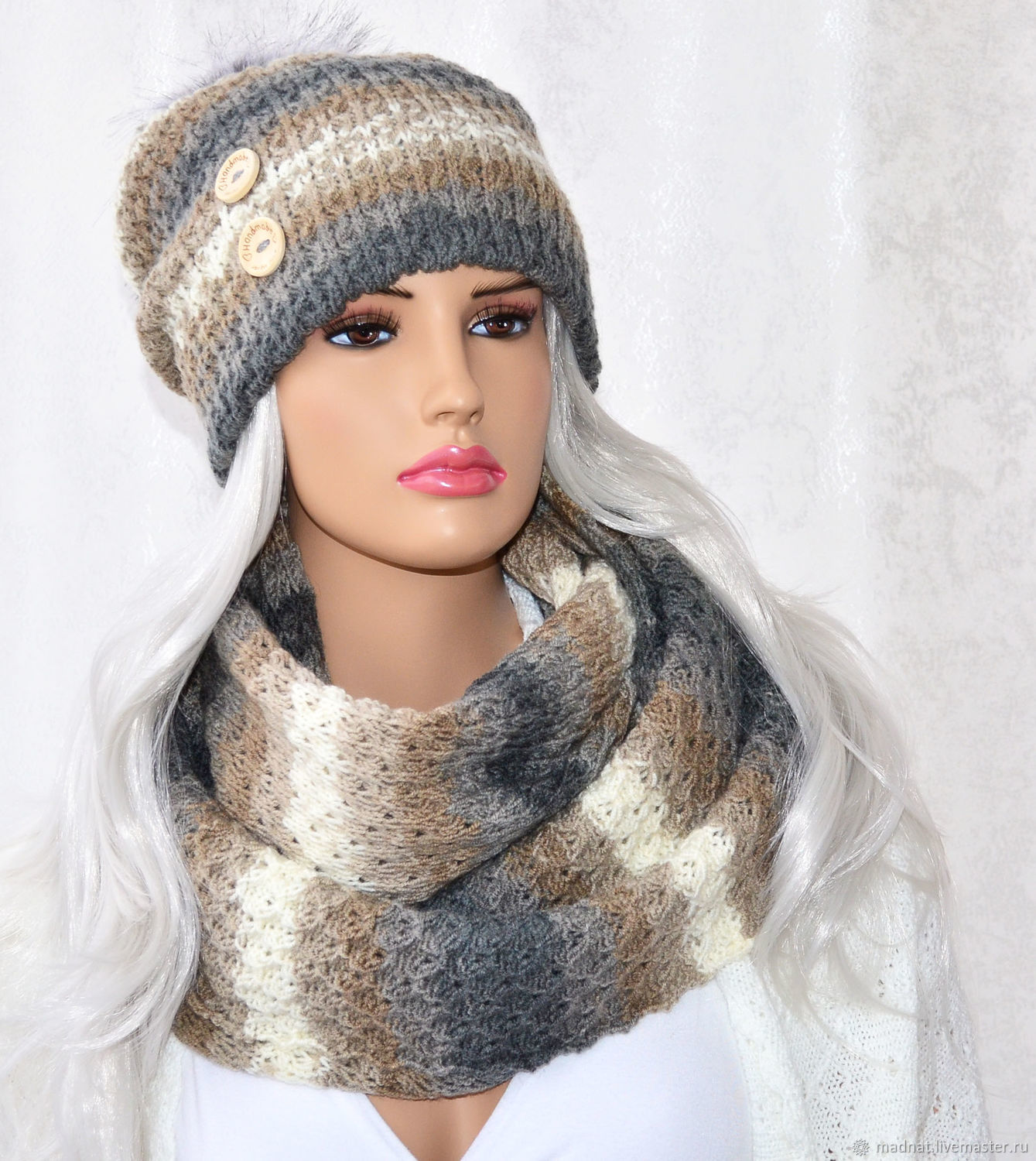 Set in the style of boho 'Sands of Time' double hat Snood, Headwear Sets, Moscow,  Фото №1