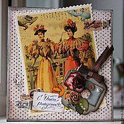 """Открытки ручной работы. Ярмарка Мастеров - ручная работа Винтажная открытка """"С днем рождения!"""". Handmade."""