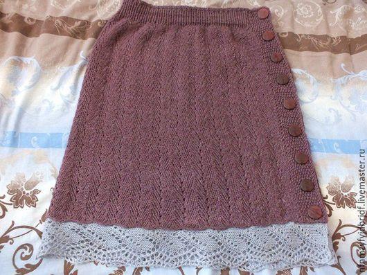 Юбки ручной работы. Ярмарка Мастеров - ручная работа. Купить юбка с пуговицами. Handmade. Бордовый, юбка с ажурной каймой